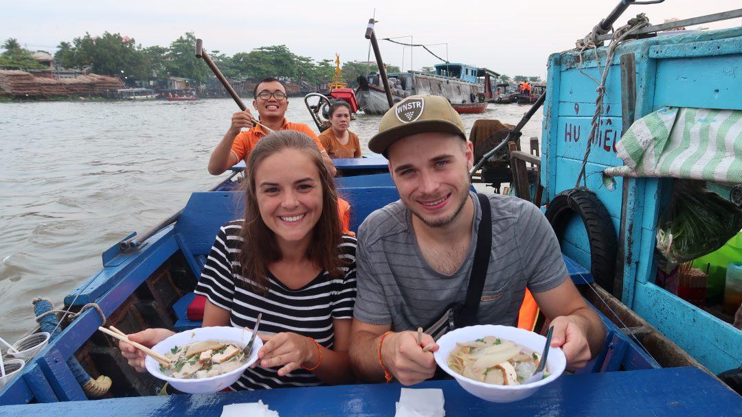 Enjoy noodle soup onboard - Cai Rang floating market tour