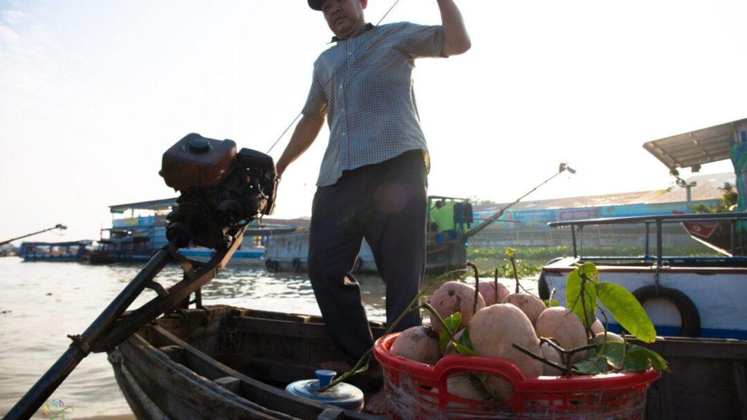 Small boat on cai rang floating market