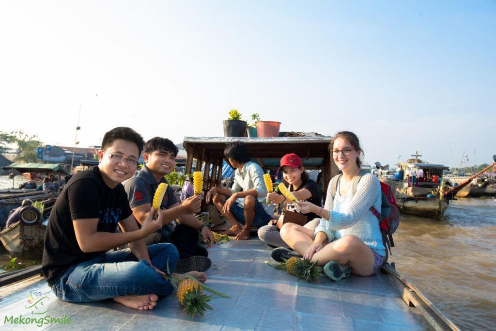 Biggest floating market in Mekong Delta