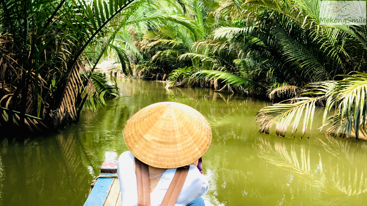 Scenic beautiful small canal in Ben Tre