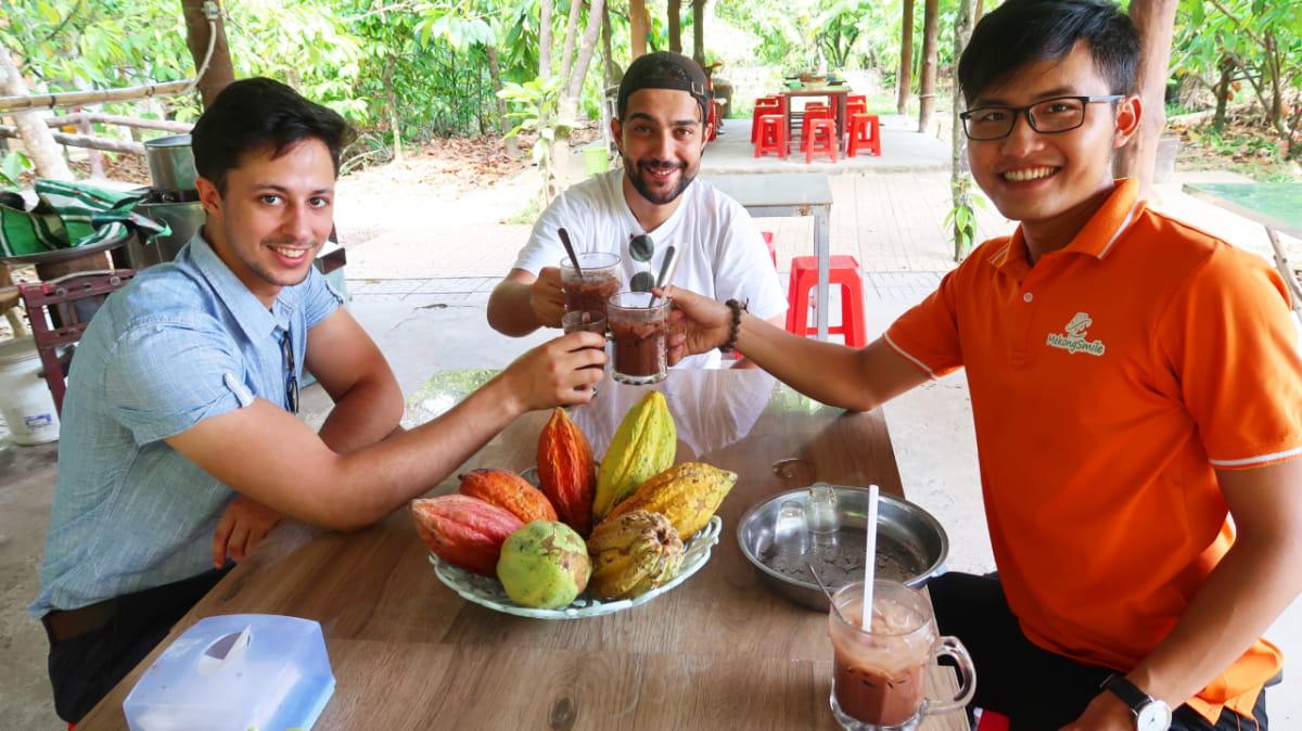 Enjoy chocolate drink at a cacao farm