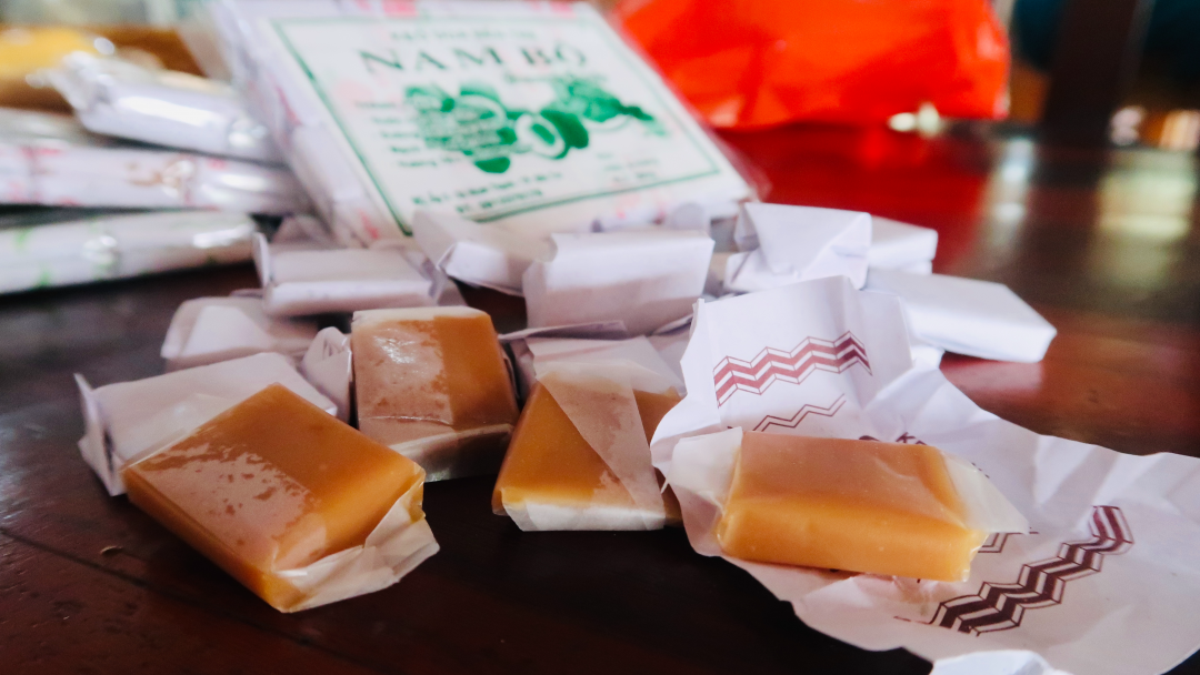 Yummy traditional coconut candy in Ben tre, Mekong delta