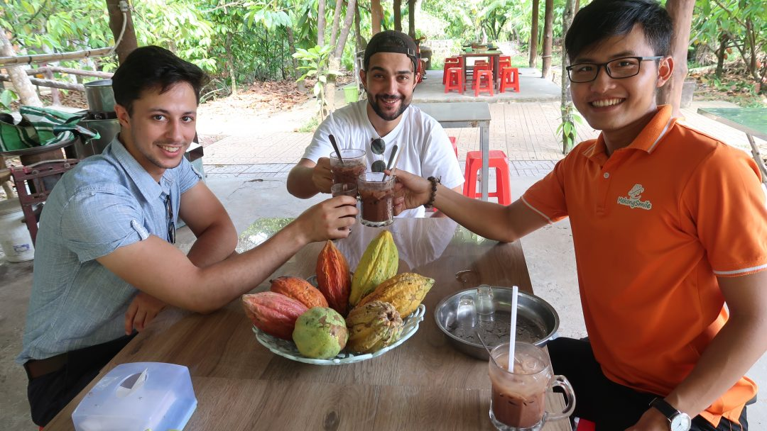 Enjoy chocolate drink in cacao farm - Can Tho bike tour - Mekong delta bike tour