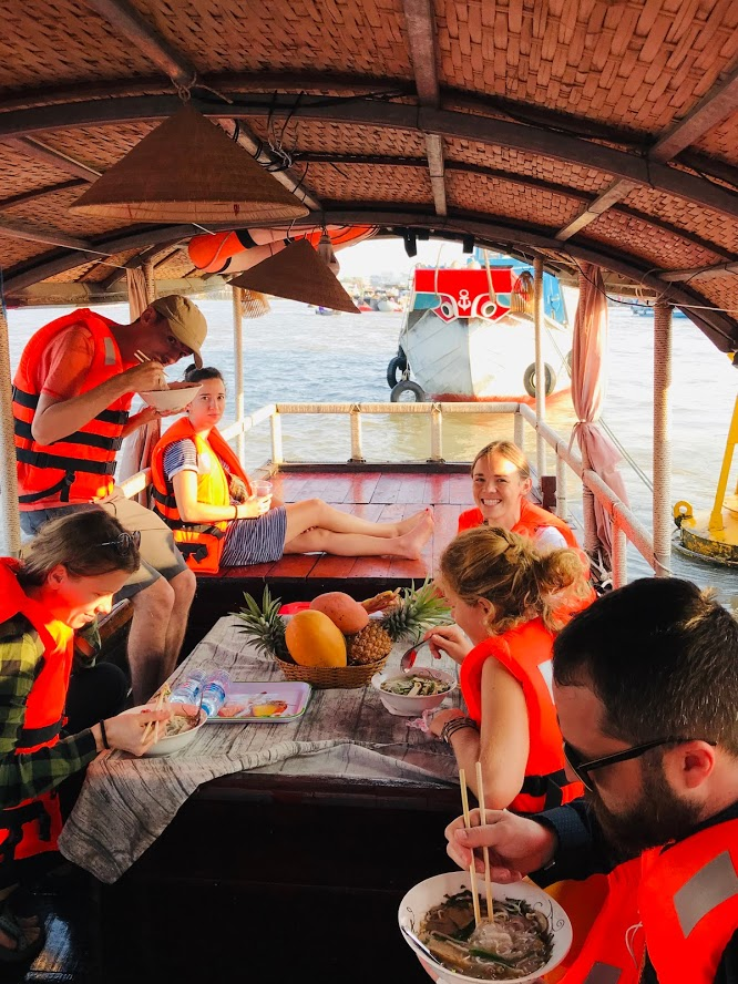 Enjoy break fast in Can Tho river tour