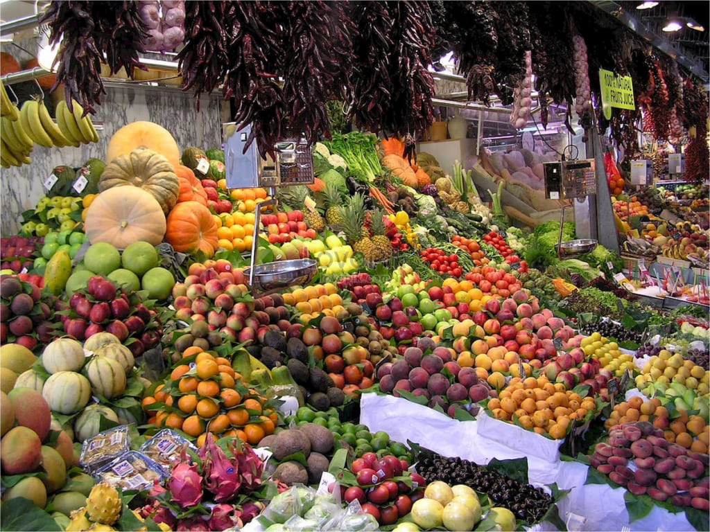 Local market with lots of fruits