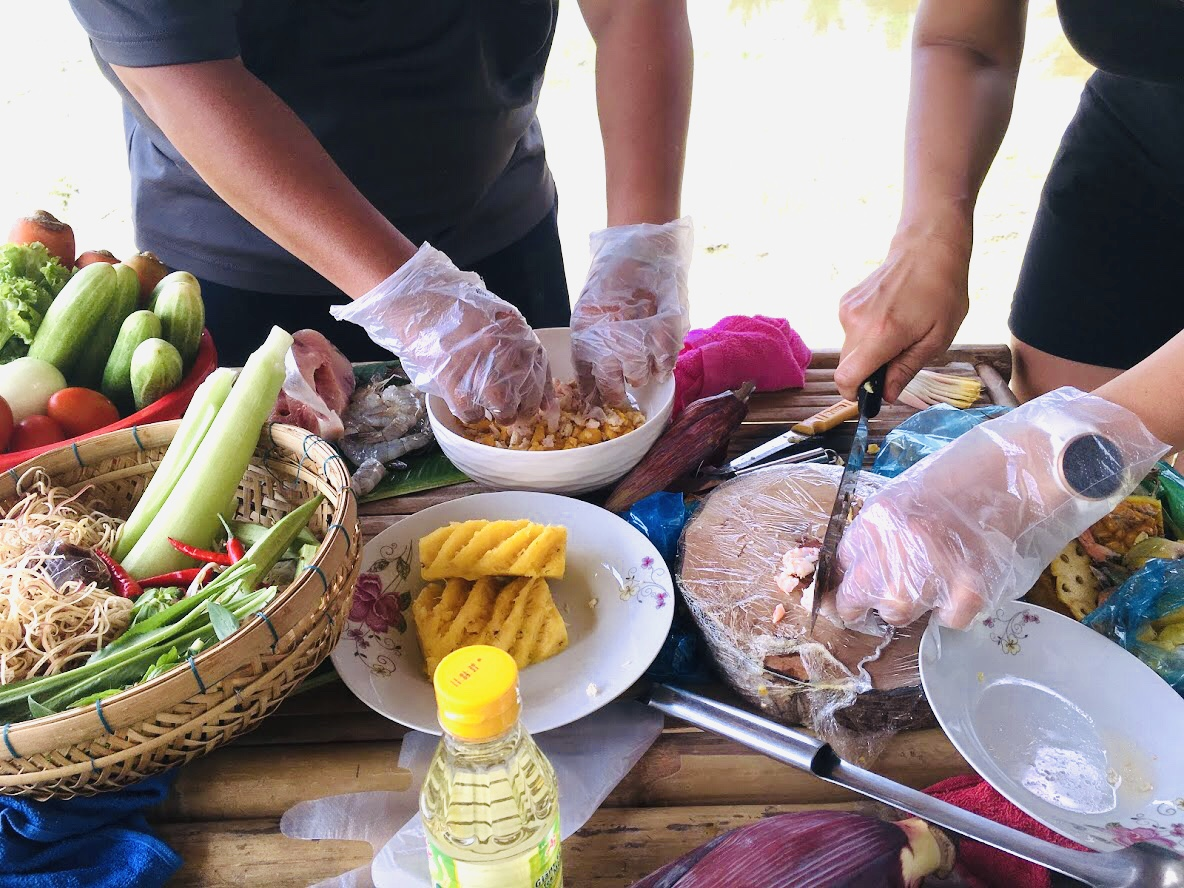Focus on cooking food in Can Tho, Mekong delta
