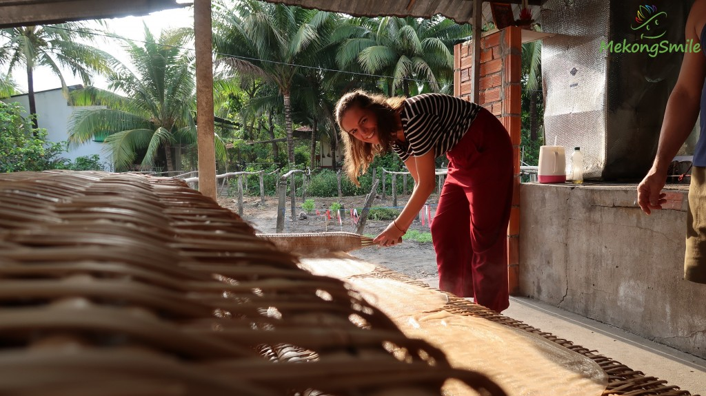 Experience making rice noodle - Mekong delta cycling tour