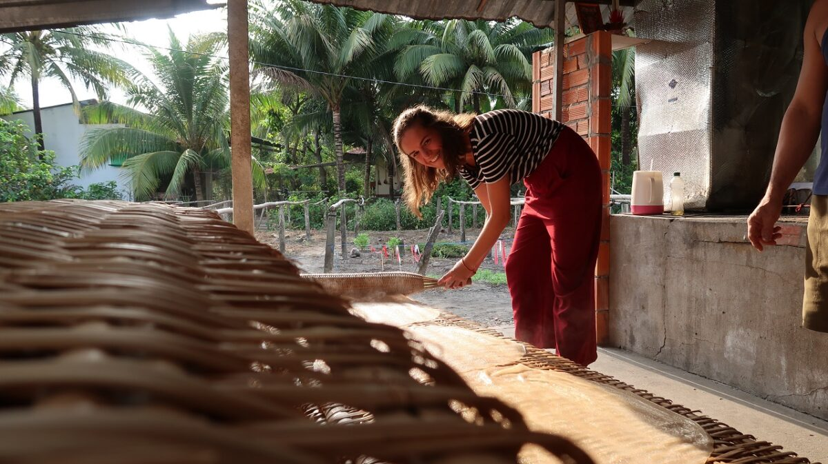 Rice noodle factory in Can Tho, Mekong delta, Vietnam